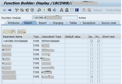 ABAP function builder display 1 a