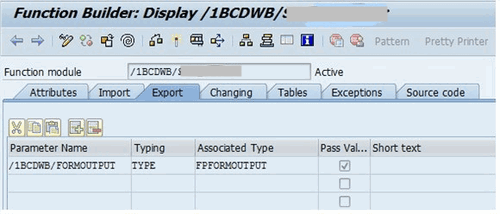 ABAP function builder display 2 a