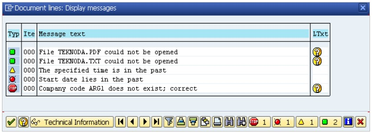ABAP-function-module-message-document-lines