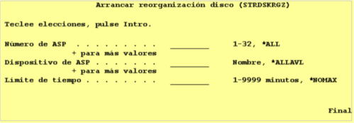 AS400-Arrancar-reorganizacion-disco