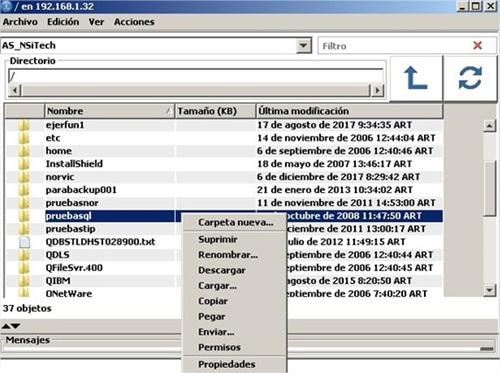 IBM i IFS ACS opciones 2